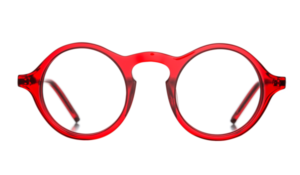 Handmade round glasses in acetate with templets in semi matte metal, red glasses, eyeglasses frames