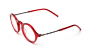 Handmade round glasses in acetate with templets in semi matte metal, red glasses, gold glasses