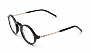 Handmade round glasses in acetate with templets in semi matte metal, black glasses, gold glasses