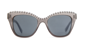 glitter, acetate sunglasses, cat-eye, cat-eye sunglasses, women's sunglasses, grey lens, carl zeiss vision, studs
